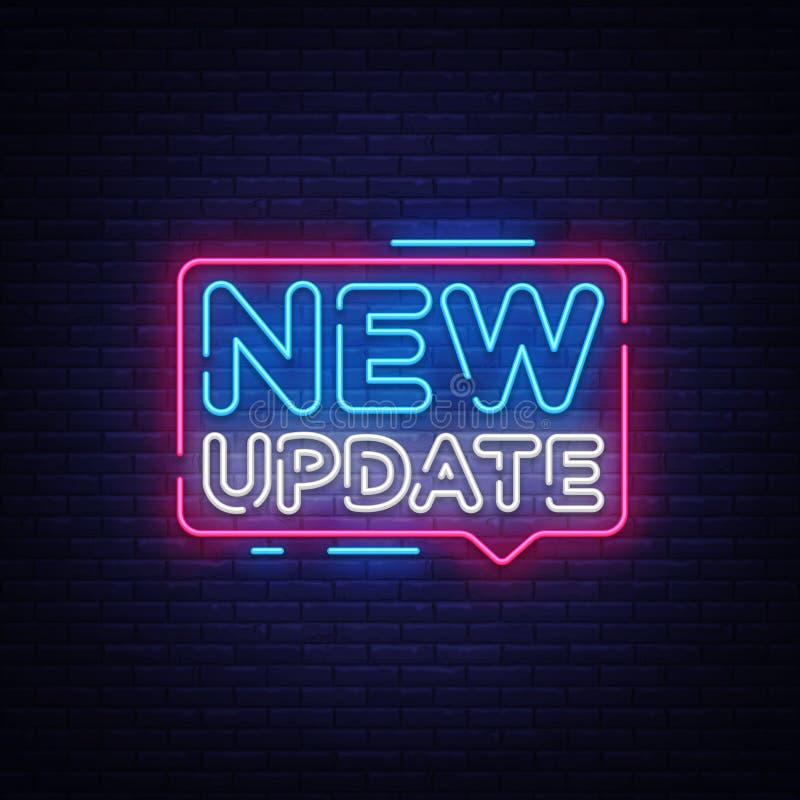 Ny vektor för uppdateringneontext Nytt uppdateringneontecken, designmall, modern trenddesign, nattneonskylt, natt stock illustrationer