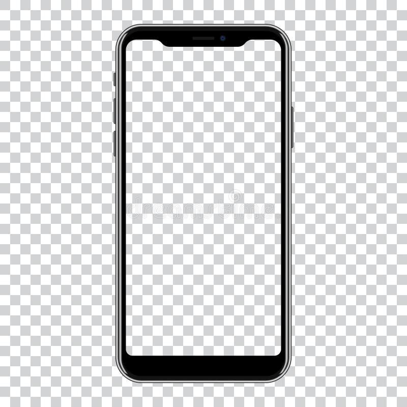 Ny version av den svarta smartphonen med den tomma skärmen också vektor för coreldrawillustration stock illustrationer