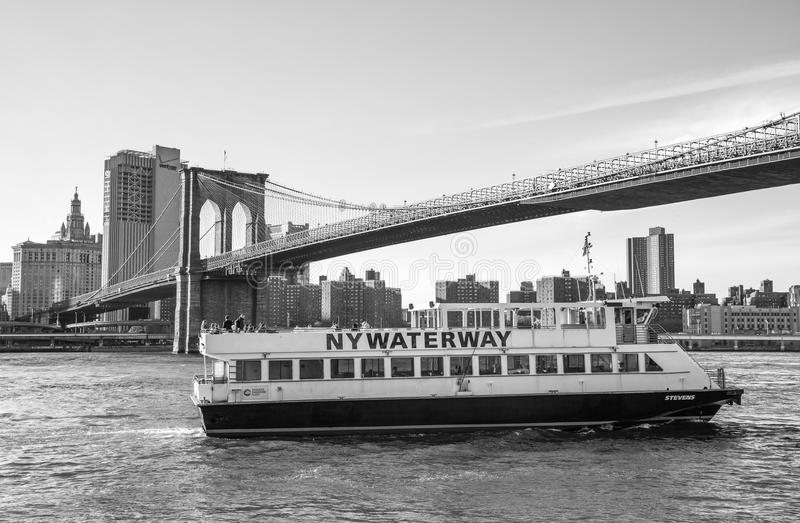 NY Waterway Boat at Lower Manhattan. NEW YORK, USA - May 01, 2016: NY Waterway Boat at Lower Manhattan. NY Waterway is a private transportation company running royalty free stock image