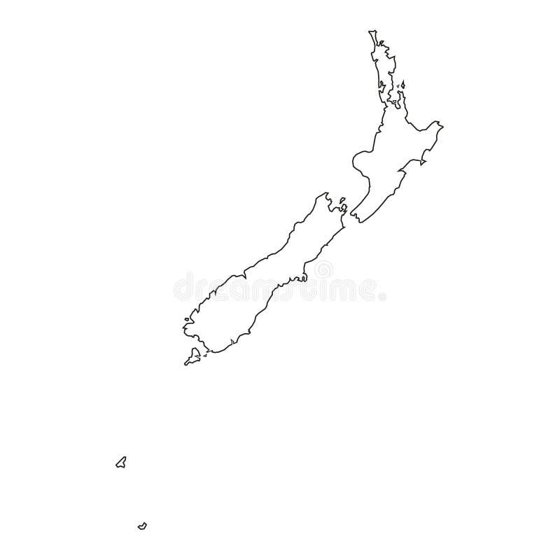 Ny Zeland översiktssymbol Skissera den nya symbolen för den Zeland översiktsvektorn för rengöringsdukdesign som isoleras på vit b vektor illustrationer