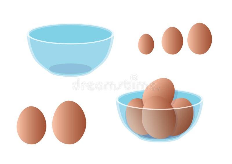 Nya ägg är i en klar kopp på vit bakgrund vektor illustrationer