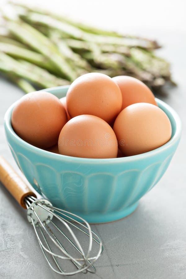Nya ägg i en bunke med viftar royaltyfri bild