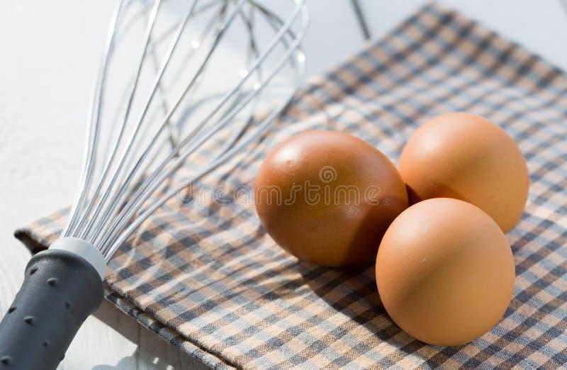 Nya ägg i köket royaltyfri bild
