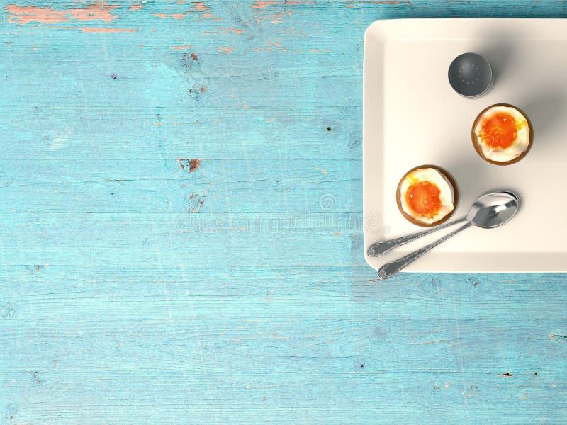 Nya ägg på wood bakgrund royaltyfri foto