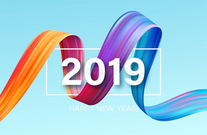 2019 nya år av en färgrik beståndsdel för design för penseldragolja- eller akrylmålarfärg också vektor för coreldrawillustration stock illustrationer