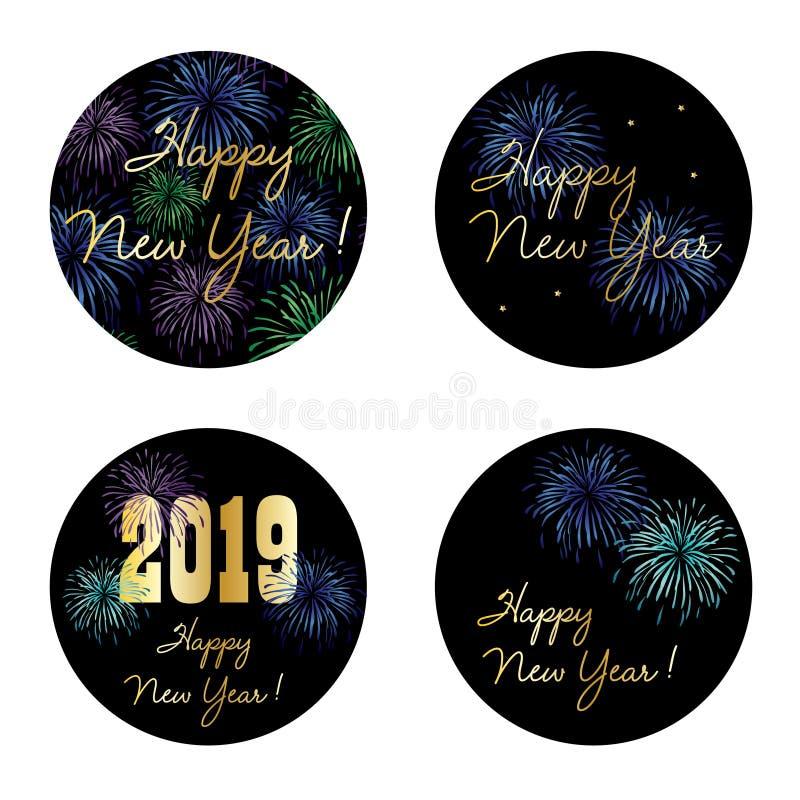 Nya år cirkeldiagram för helgdagsafton 2019 med fyrverkerier royaltyfri illustrationer
