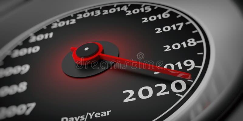 2020 nya år Detalj för closeup för bilhastighetsmätaremått illustration 3d vektor illustrationer