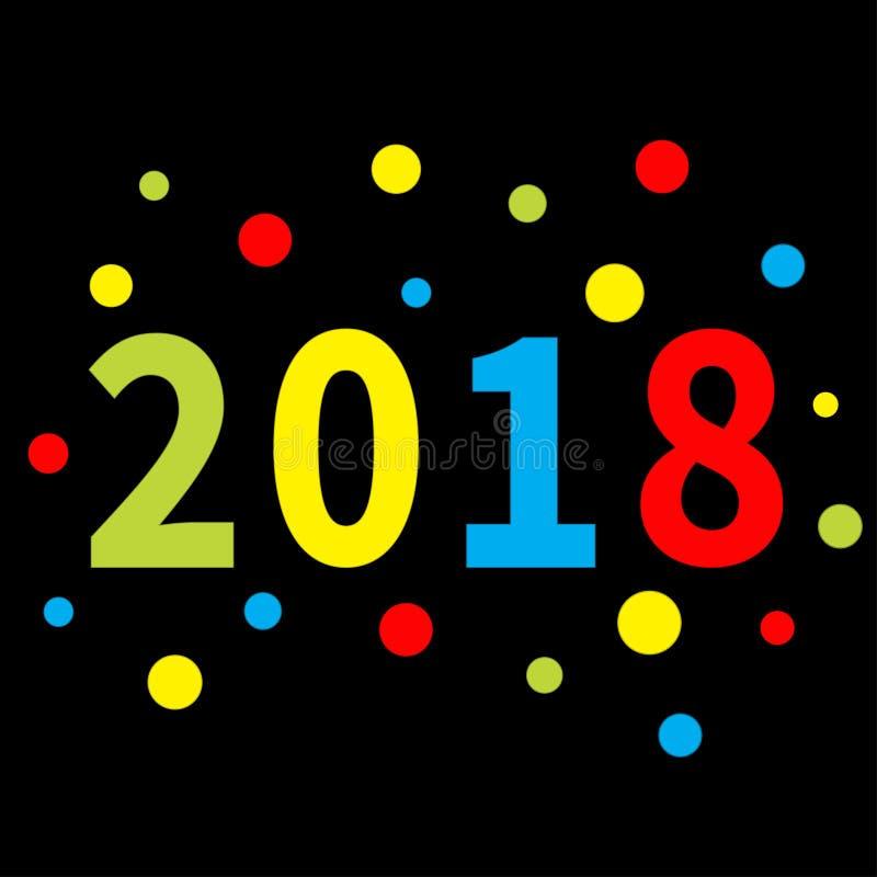 2018 nya år Färgrik rund prick Mall för hälsningkort, kalender, presentation, reklamblad, broschyr, vykort och affisch Papper vektor illustrationer