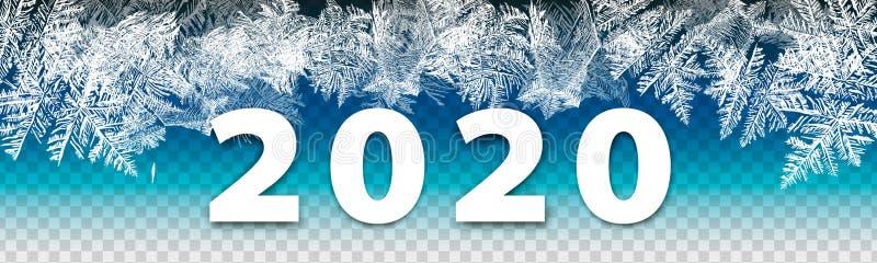 2020 nya år för modern vinterbakgrund på frostad bakgrund för is Globalt f?rgar En redigerbar lutning anv?nds f?r l?tt recolor