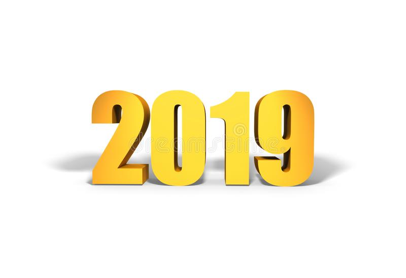2019 nya år Guld- text med skugga stock illustrationer