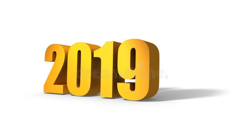 2019 nya år Guld- text med skugga royaltyfri illustrationer