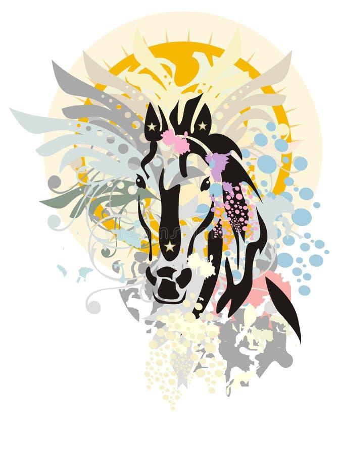 Nya år häst royaltyfri illustrationer