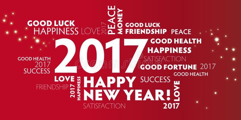 Nya år helgdagsafton 2017 - beträffande år Eve2017 för lyckligt nytt år 2017New royaltyfri illustrationer