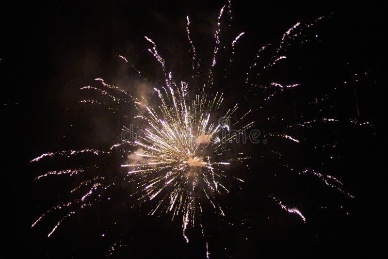 Nya år helgdagsaftonfyrverkerier, flera raket som exploderar colourfullyin den härliga natthimlen royaltyfri fotografi