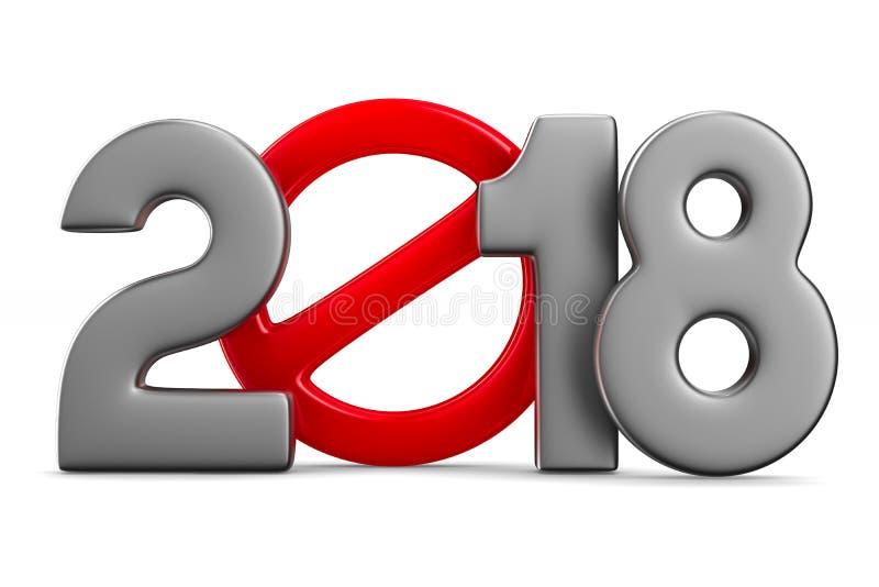 2018 nya år Isolerad illustration 3d royaltyfri illustrationer