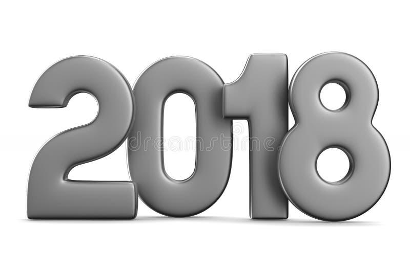 2018 nya år Isolerad illustration 3d stock illustrationer