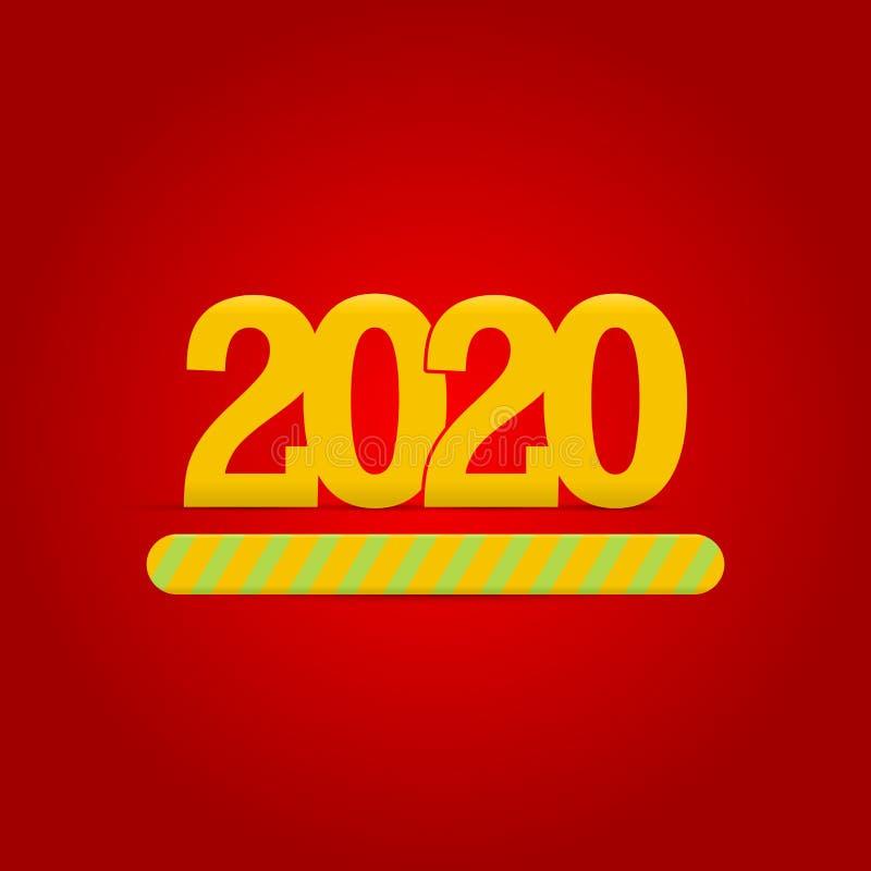 2020 nya år laddar Framstegst?ng som visar p?fyllning av 2020 Gula nummer, röd bakgrund ocks? vektor f?r coreldrawillustration stock illustrationer