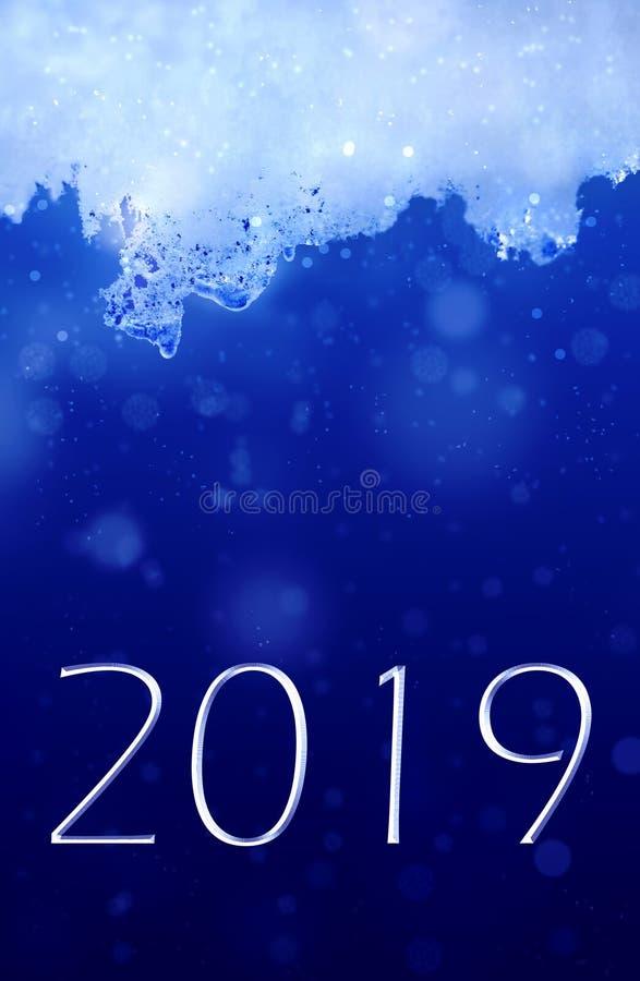 2019 nya år och is royaltyfri illustrationer