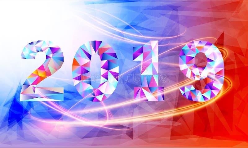 2019 nya år på bakgrunden av en färgglad triangeldesignbeståndsdel Vektorillustration EPS10 royaltyfri illustrationer