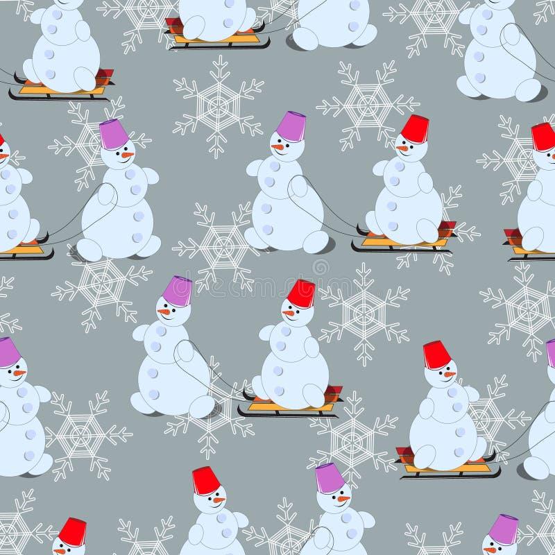 Nya år sömlös modell, snögubbear på pulkan arkivfoto