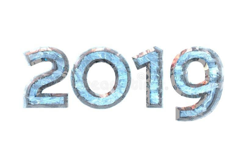 2019 nya år siffer- is på vit isolerad bakgrund 3d sliter stock illustrationer