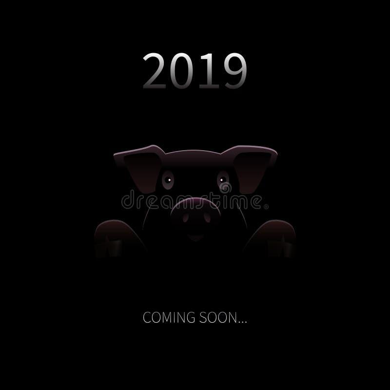 2019 nya år som snart kommer bakgrund Vektorhälsningkort med svinkonturn och text i Darknes Roligt festligt royaltyfri illustrationer