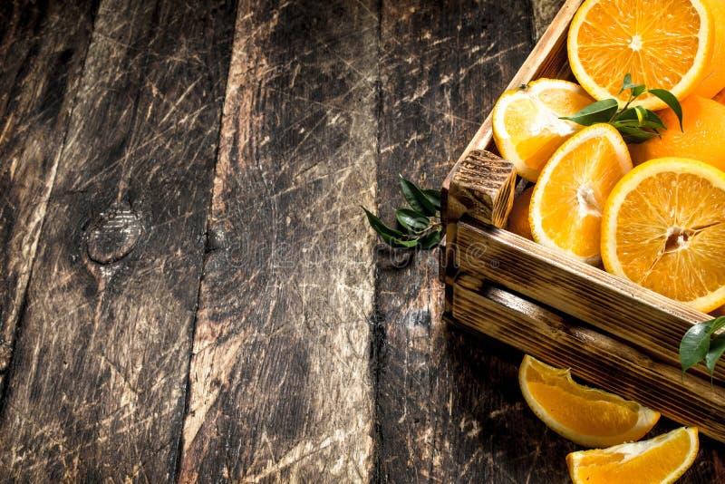 Nya apelsiner i ask royaltyfri bild