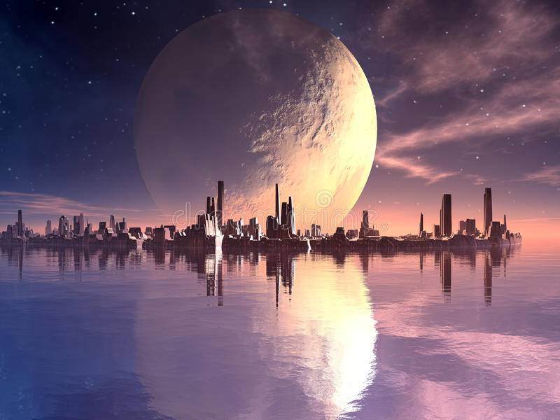 Nya Atlantis - flottörhus Futuristic stad vektor illustrationer