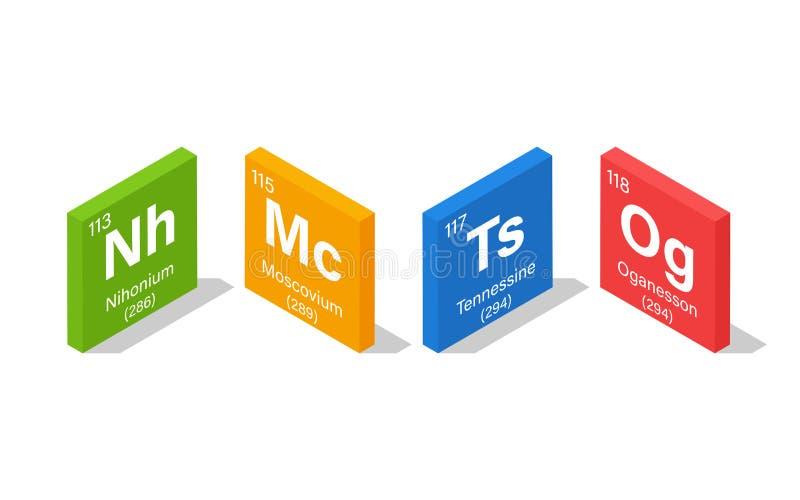 Nya beståndsdelar i den periodiska tabellen - Nihonium, Moscovium, Tennessine och Oganesson vektor illustrationer