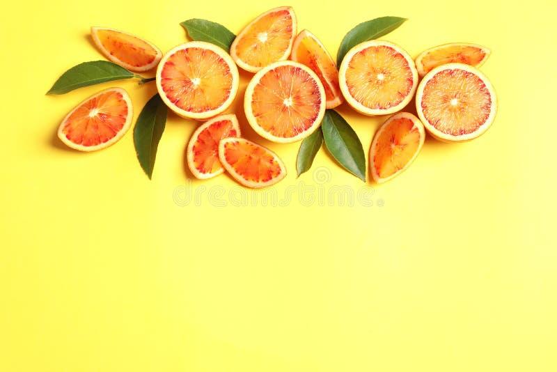 Nya blodiga apelsiner p? f?rgbakgrund, l?genhet l?gger apelsiner f?r citrusfruktcitronlimefrukter fotografering för bildbyråer