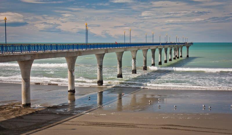 Nya Brighton Pier i Christchurch, Nya Zeeland arkivbild