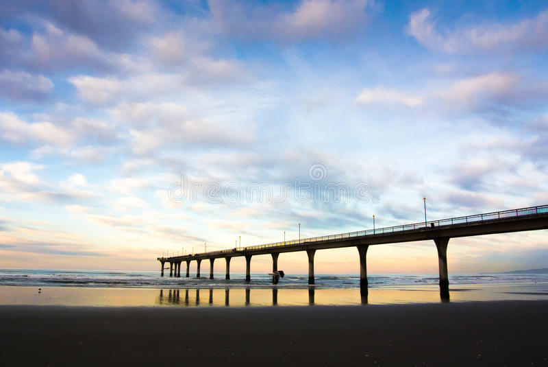 Nya Brighton Pier Sunset, Christchurch, Nya Zeeland royaltyfria foton