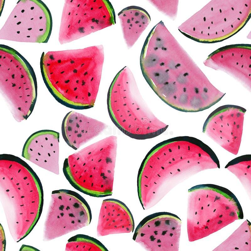 Nya efterrättskivor för härlig underbar ljus färgrik läcker smaklig smaskig mogen saftig gullig älskvärd röd sommar av vattenmelo stock illustrationer