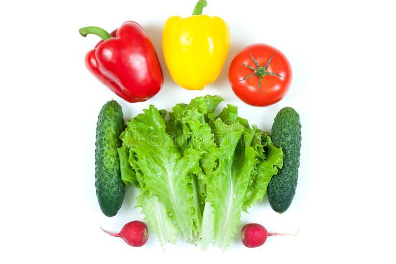 Nya färgrika organiska grönsaker som fångas från ovannämnd bästa sikt, lägger framlänges isolerat på en vit bakgrund Orientering  arkivfoton