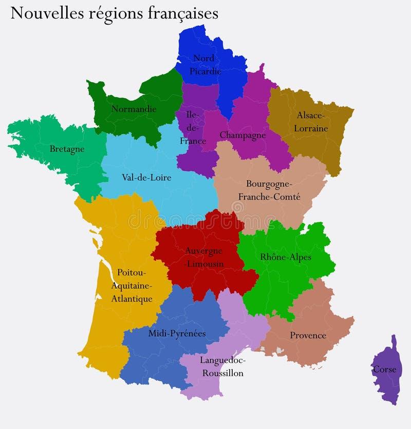 frankrike regioner karta Nya franska regioner vektor illustrationer. Illustration av  frankrike regioner karta