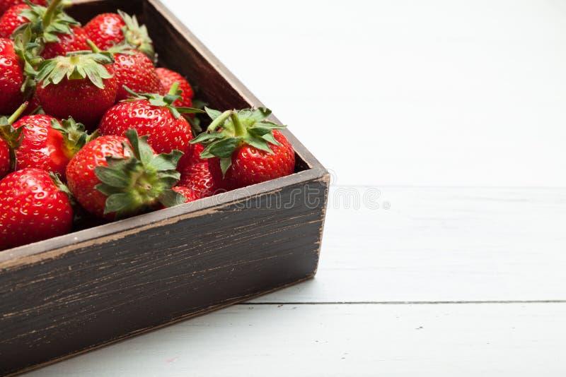 Nya frukter f?r bunkejordgubbe Sunt organiskt b?r Kopiera utrymme f?r text royaltyfri bild