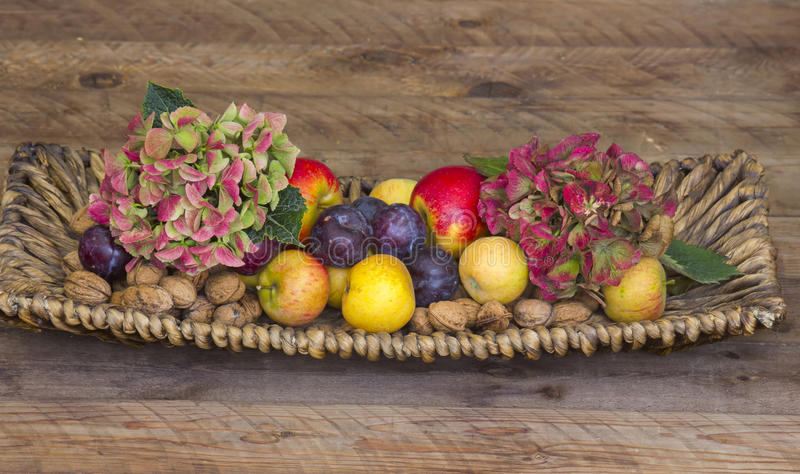 Nya frukter och blommor i en korg royaltyfria bilder