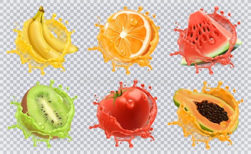 Nya frukter och färgstänk, symbolsuppsättning för vektor 3d vektor illustrationer