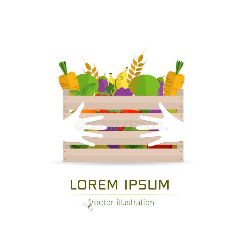Nya frukter och grönsaker i en ask stock illustrationer