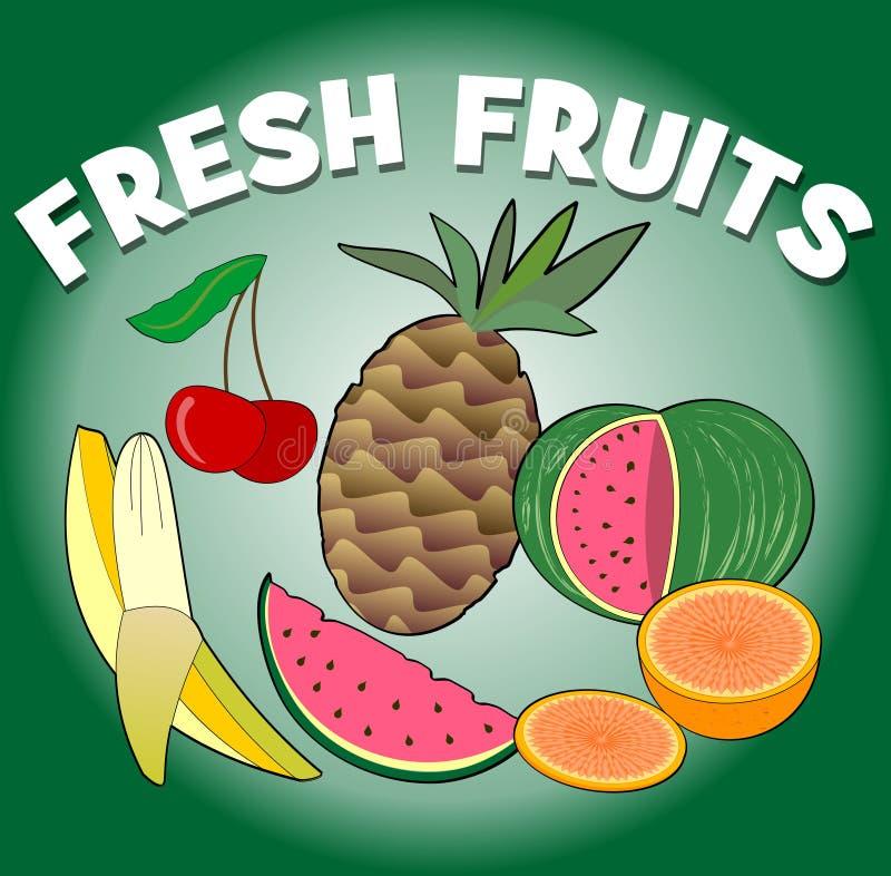 nya frukter Tropiska och för sommar saftiga frukter - melon, ananas, banan, körsbär och apelsin, fruktbilder royaltyfri illustrationer