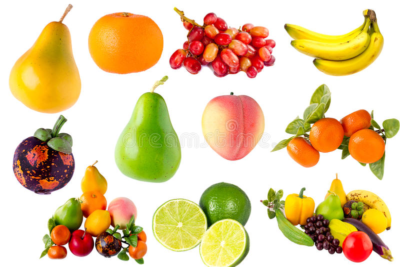Samling för grönsaker för nya frukter royaltyfria bilder