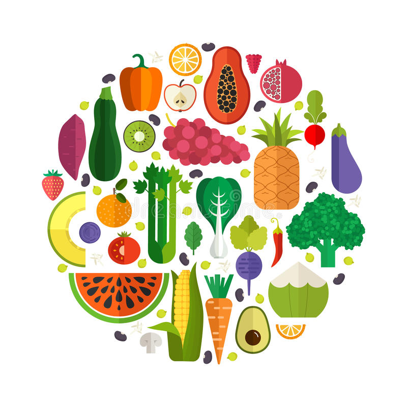 nya fruktgrönsaker stock illustrationer