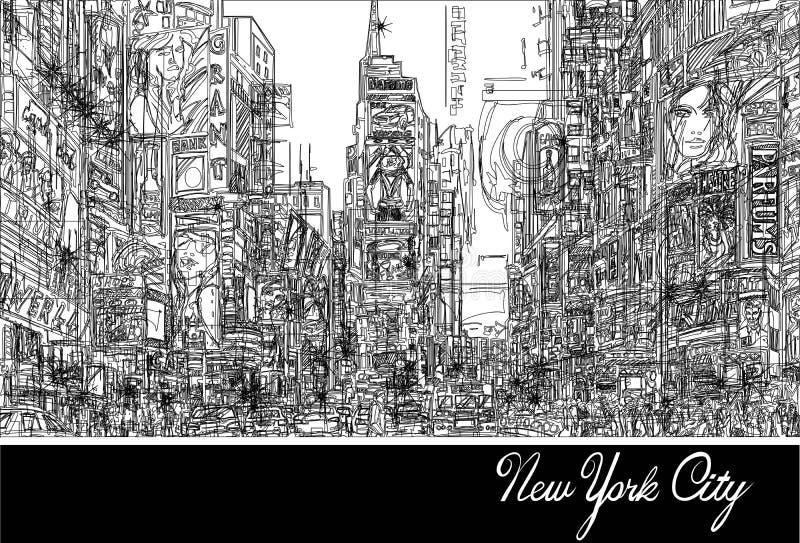 nya fyrkantiga tider york royaltyfri illustrationer
