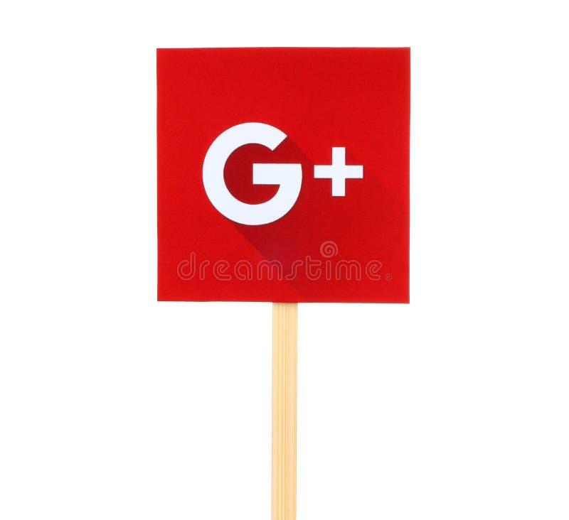 Nya Google plus logo undertecknar royaltyfri bild