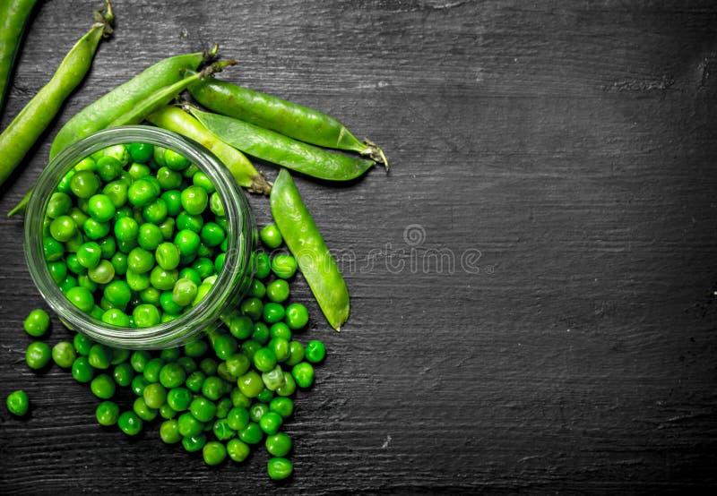 Nya gröna ärtor i den glass kruset På den svarta svart tavlan arkivfoton