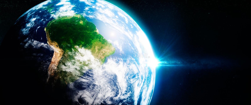 Nya gröna rainorests i Sydamerika beskådade från utrymmet royaltyfri illustrationer