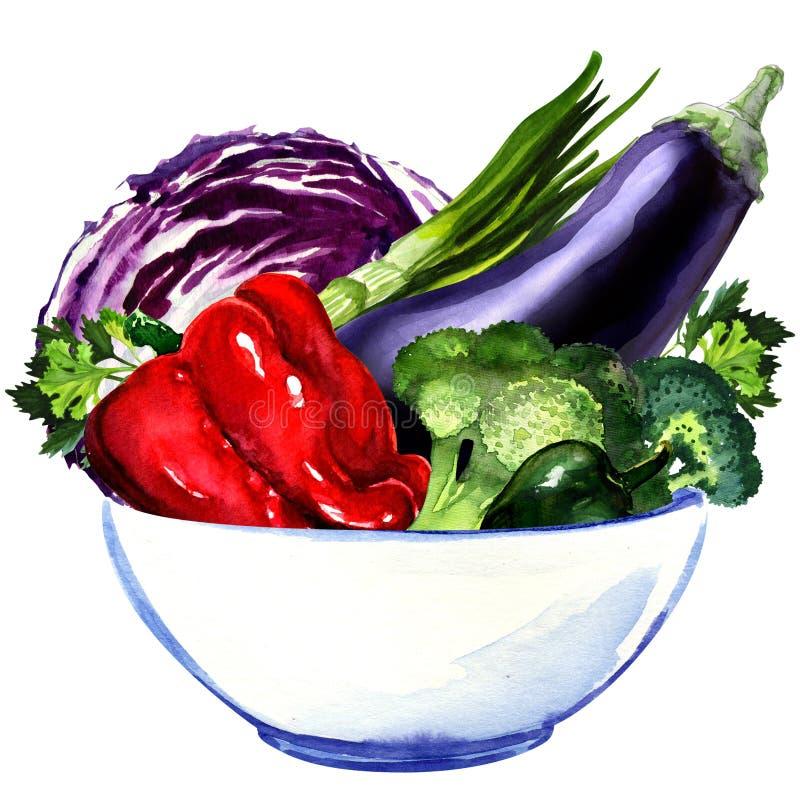 Nya grönsaker - aubergine, kål, peppar vektor illustrationer