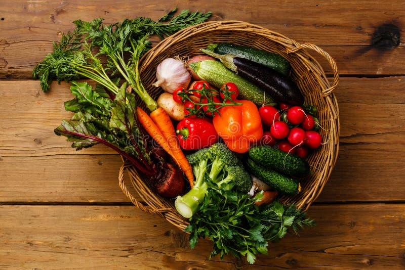 nya grönsaker för korg royaltyfri fotografi