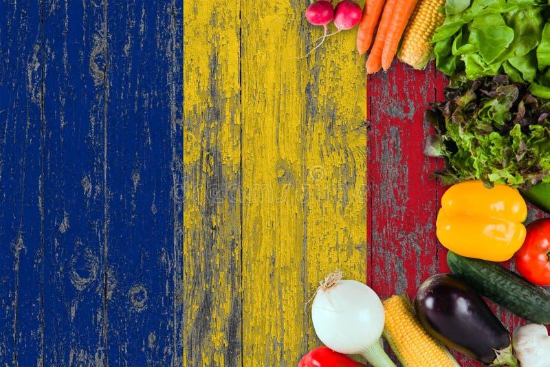 Nya grönsaker från Rumänien på tabellen Laga mat begrepp p? tr?flaggabakgrund royaltyfria foton