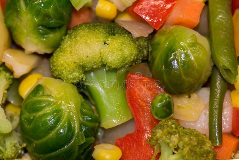 Nya grönsaker låtas småkoka för diet-näring Broccolikål, Bryssel, zucchini, havre, ärtor, lök, haricot vert, morötter arkivbild